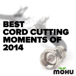 Most Memorable Cordcutting Moments of 2014 copy on an image of a coax cable with the mohu logo