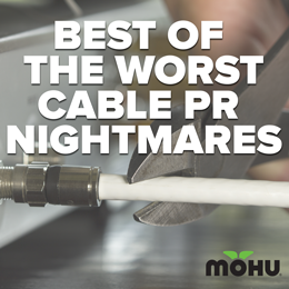Cable Companies PR Disasters 2014 copy on an image of scissors cutting a coax cable