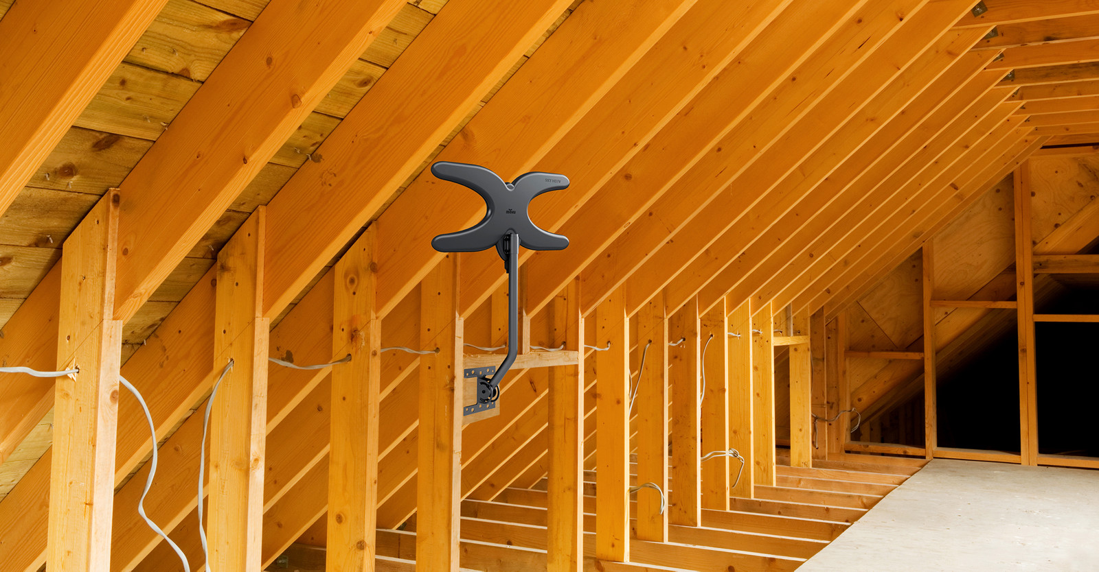Mohu Sky antenna mounted in an attic