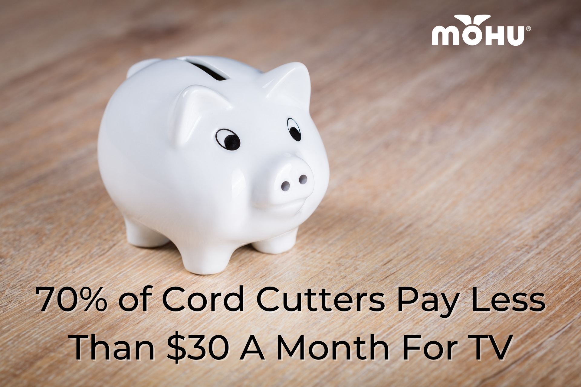 Piggy bank on table, 70% of Cord Cutters Pay Less Than $30 A Month For TV, Mohu logo