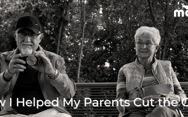 Black and white photo of an old man and woman sitting on a park bench, How I Helped My Parents Cut the Cord, Mohu logo