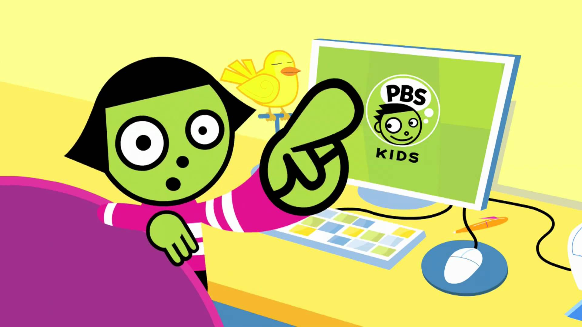PBS Kids image, cartoon girl sitting in front of a computer monitor with PBS kids logo