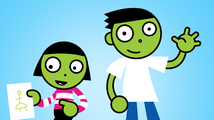 PBS cartoon image of a boy and a girl on a blue backdrop