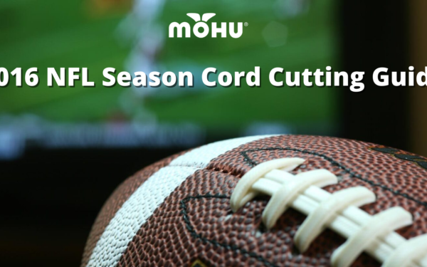 Football in front of TV Screen, 2016 NFL Season Cord Cutting Guide with Mohu logo
