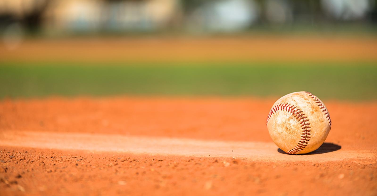 Baseball sitting on the pitcher's mound
