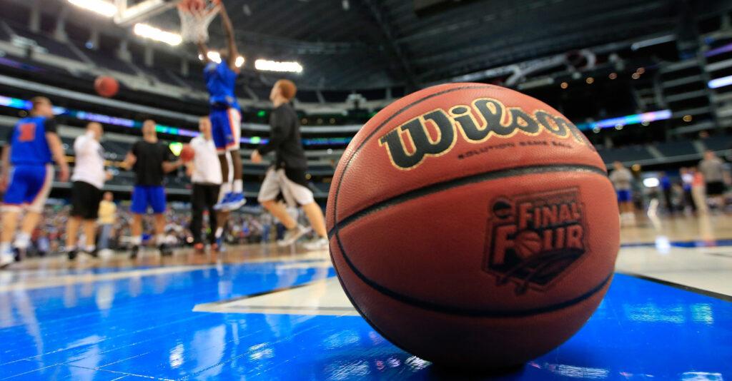 Wilson basketball on the court