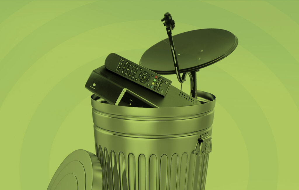 image result of a metal trash can with a satellite dish and cable box inside the trash can