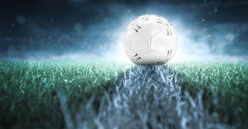 Soccer ball closeup on turf