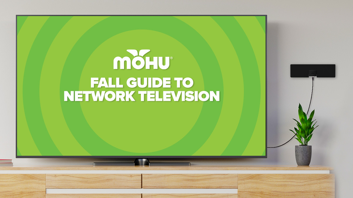 TV screen in living room with Mohu antenna on the wall, Fall Guide to Network Television, Mohu