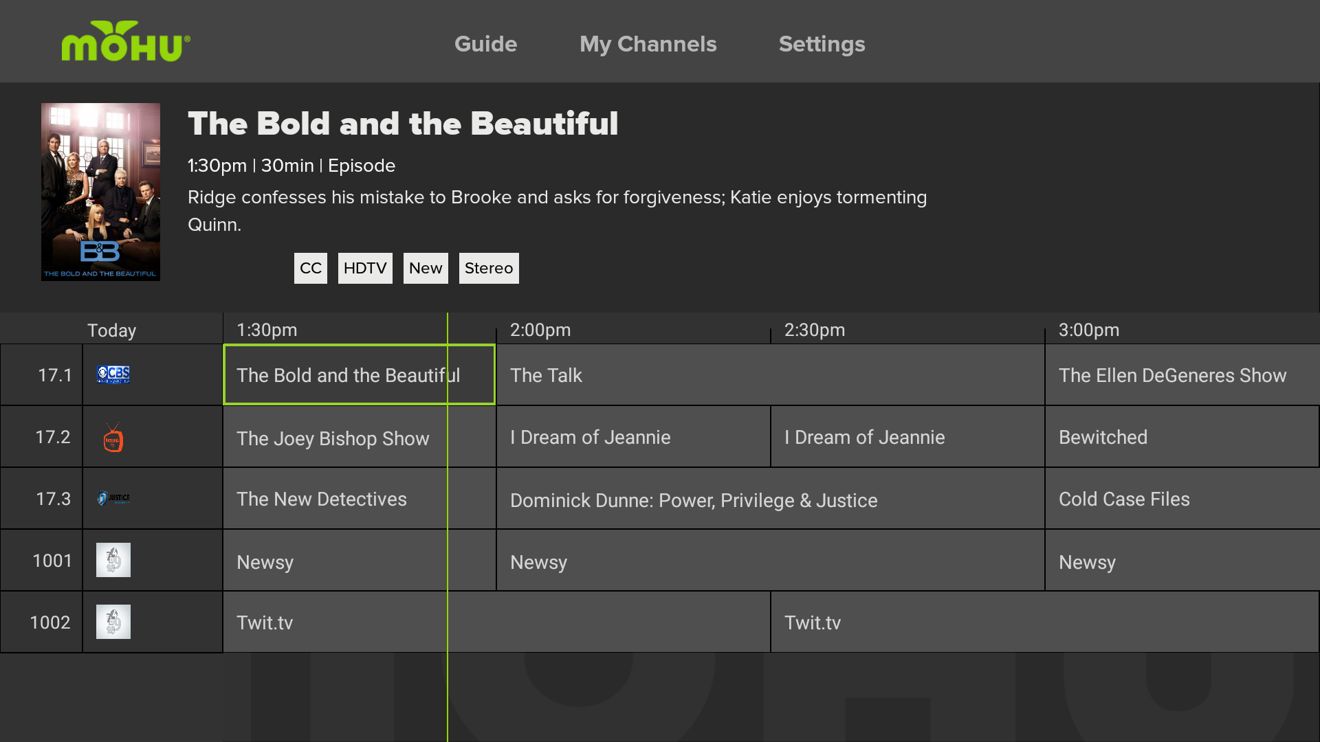 mohu channel guide