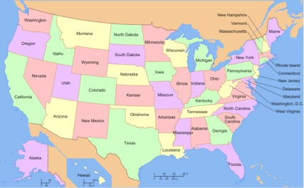 Map of the United States with text labels for each state